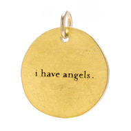 """I have angels"" charm, gold dipped"