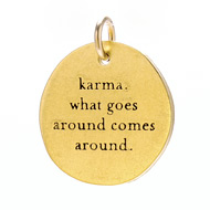 """karma"" charm, gold dipped"