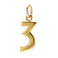 "number ""3"" charm, gold dipped"