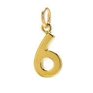 "number ""6"" charm, gold dipped"