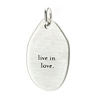 """live in love"" charm, sterling silver"