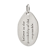 &quot;believe in the possibility charm&quot; sterling silver