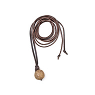 jewel box chocolate leather necklace with brass studded globe - 52 inches