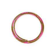 limited edition jewel box memory fuchsia and bronze bead bracelet