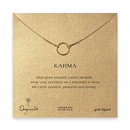 karma necklace, gold dipped - 18 inch
