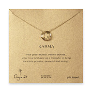 triple karma ring necklace, gold dipped