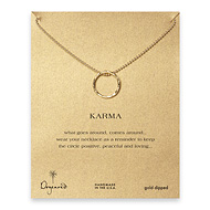 large karma textured necklace gold dipped