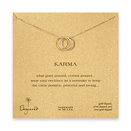 triple karma ring necklace, mixed metal, gold dipped