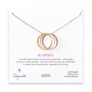 medium multi-link mixed metal sparkle karma necklace, gold, silver, rose gold