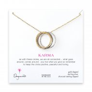 medium multi-link mixed metal sparkle karma necklace, gold, silver, charcoal