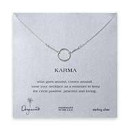 karma necklace, sterling silver