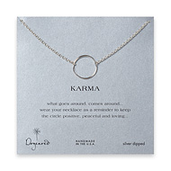 large smooth karma necklace, silver dipped