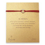 small karma hammered bracelet gold dipped on red irish linen