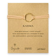 large karma bracelet gold dipped on camel leather