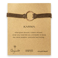 large karma bracelet rose gold dipped on java leather