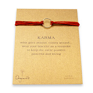 karma bracelet gold dipped on red irish linen