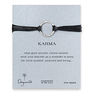large karma bracelet sterling silver on black irish linen