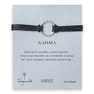 large karma bracelet sterling silver on ebony leather