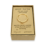 good karma ring gold dipped with hummingbird charm