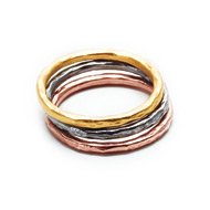 mixed metal karma rings, set of three - size 6