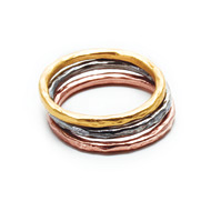 mixed metal karma rings, set of three - size 8