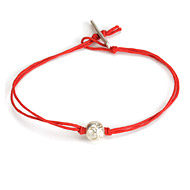 eat pray love meditate silver om bead bracelet on red