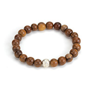 eat pray love meditate teak wood bracelet with silver om bead