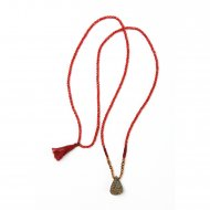 limited edition rainbow pyrite necklace, faceted red coral gems