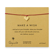 make a wish perfect heart bracelet on red, gold dipped