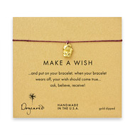 make a wish lucky cat bracelet on maroon, gold dipped