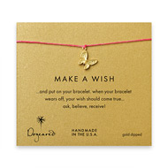 make a wish butterfly bracelet on fuschia, gold dipped