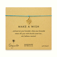 make a wish fleur de lis bracelet on teal, gold dipped