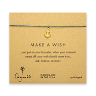 make a wish smooth anchor bracelet on ocean, gold dipped