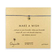 make a wish star bracelet on ocean, gold dipped
