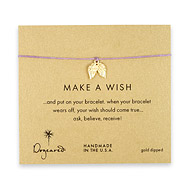 make a wish angel wings bracelet on lilac, gold dipped