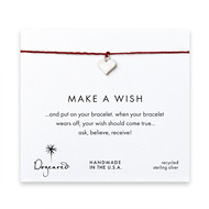 make a wish perfect heart bracelet on red, sterling silver