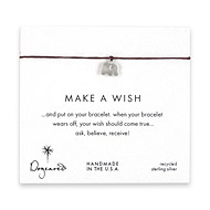 make a wish elephant bracelet on maroon, sterling silver