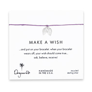 make a wish angel wings bracelet on lilac, sterling silver