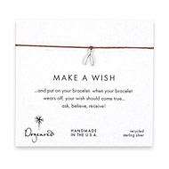make a wish wishbone bracelet on tobacco, sterling silver