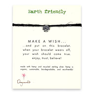 earth friendly make a wish bracelet with recycled tree on black hemp