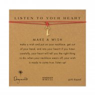 listen to your heart key necklace on red, gold dipped