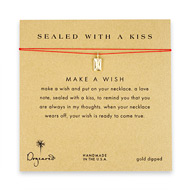 sealed with a kiss envelope necklace on red, gold dipped