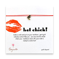 hot chick make a wish necklace with gold dipped chick on red