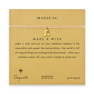 magical make a wish necklace with gold dipped bunny on pink