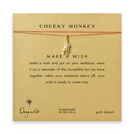 cheeky monkey, monkey necklace on orange, gold dipped