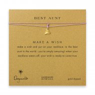 best aunt happy heart necklace on lavender, gold dipped