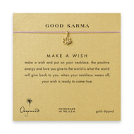 good karma lotus necklace on lavender, gold dipped