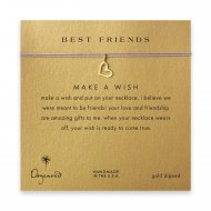 best friends loving heart necklace on purple, gold dipped