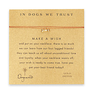 in dogs we trust dog bone necklace on tobacco, gold dipped