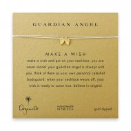guardian angel, angel wings necklace on creme, gold dipped